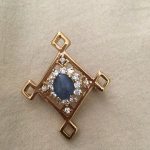Costume brooch with faux opal and diamonds